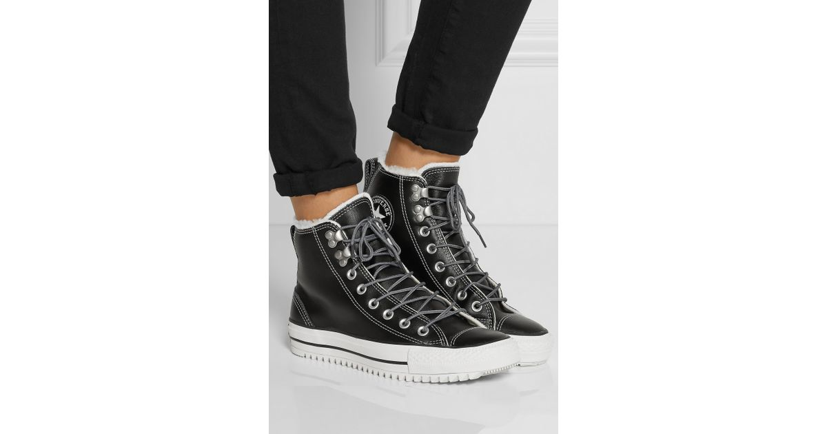01594e5088dc Lyst - Converse Chuck Taylor All Star City Hiker Shearling-Lined Leather  High-Top Sneakers in Black