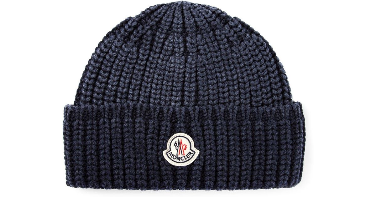 Lyst - Moncler Ribbed Beanie in Blue for Men a69bed90521
