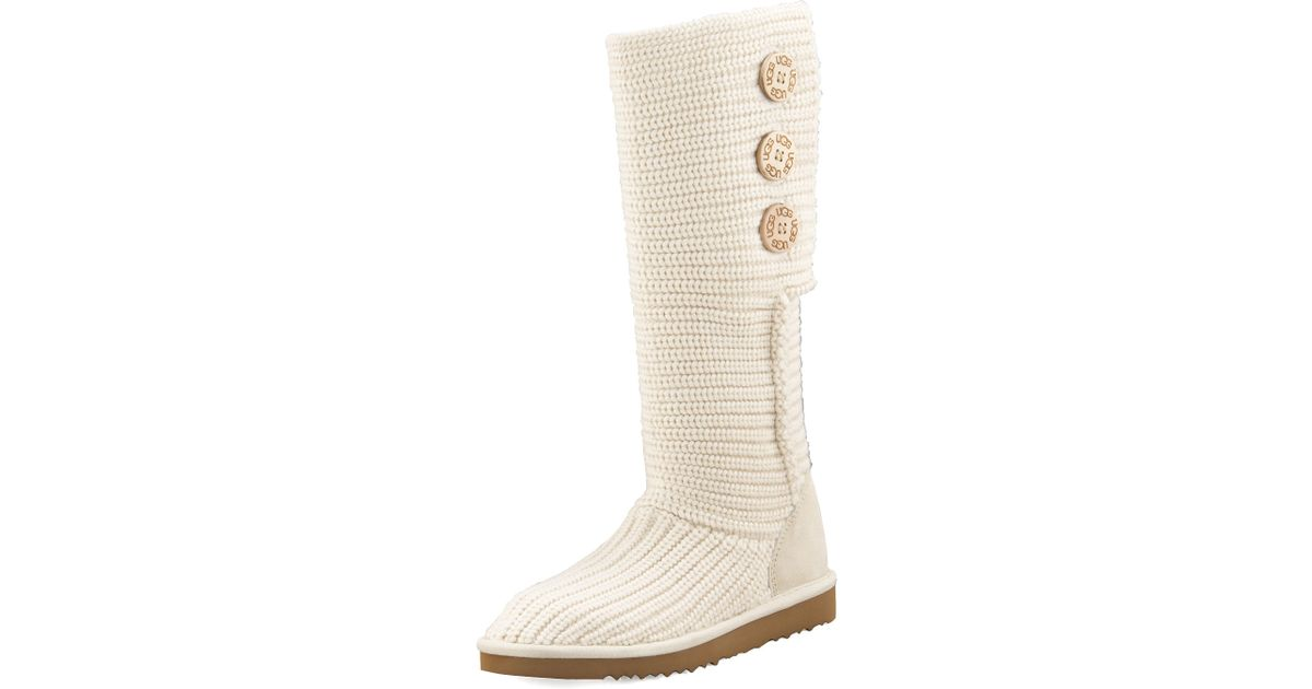 lyst ugg classic cardy crochet shearling boot in natural rh lyst com