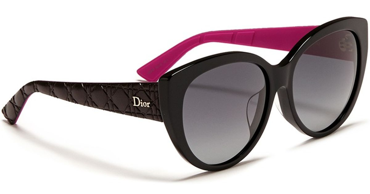 4551912baa Dior  lady 1r  Rubber And Leather Temple Cat Eye Sunglasses in Pink - Lyst