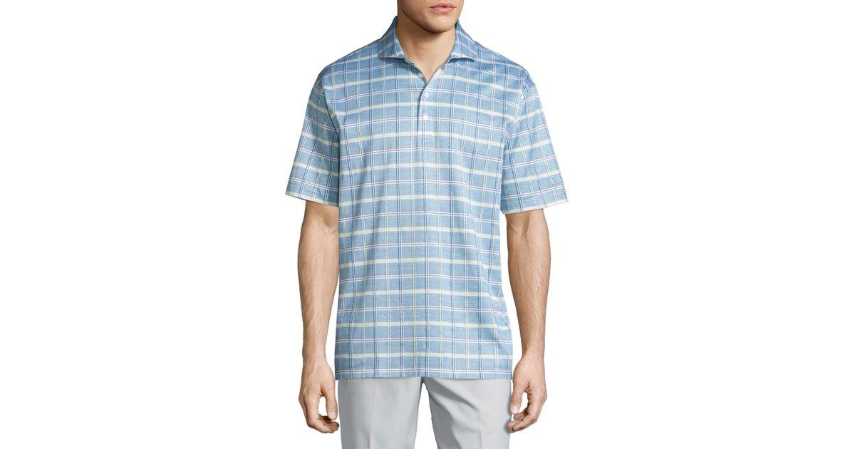Lyst robert talbott short sleeve jacquard polo shirt in for Robert talbott shirts sale
