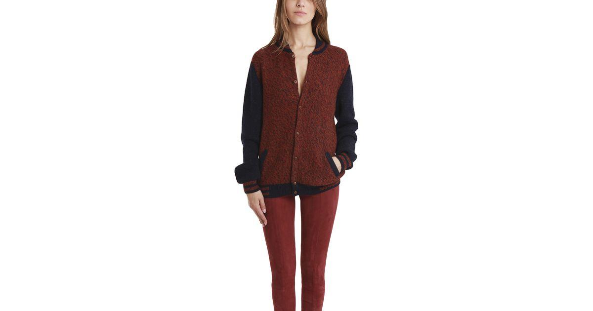Monsieur lacenaire Knitted Varsity Jacket in Brown Lyst