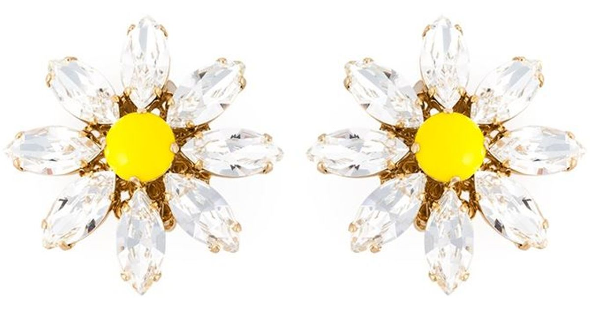 801366fd94e97 Lyst - Dolce   Gabbana Daisy Clip-on Earrings in Yellow