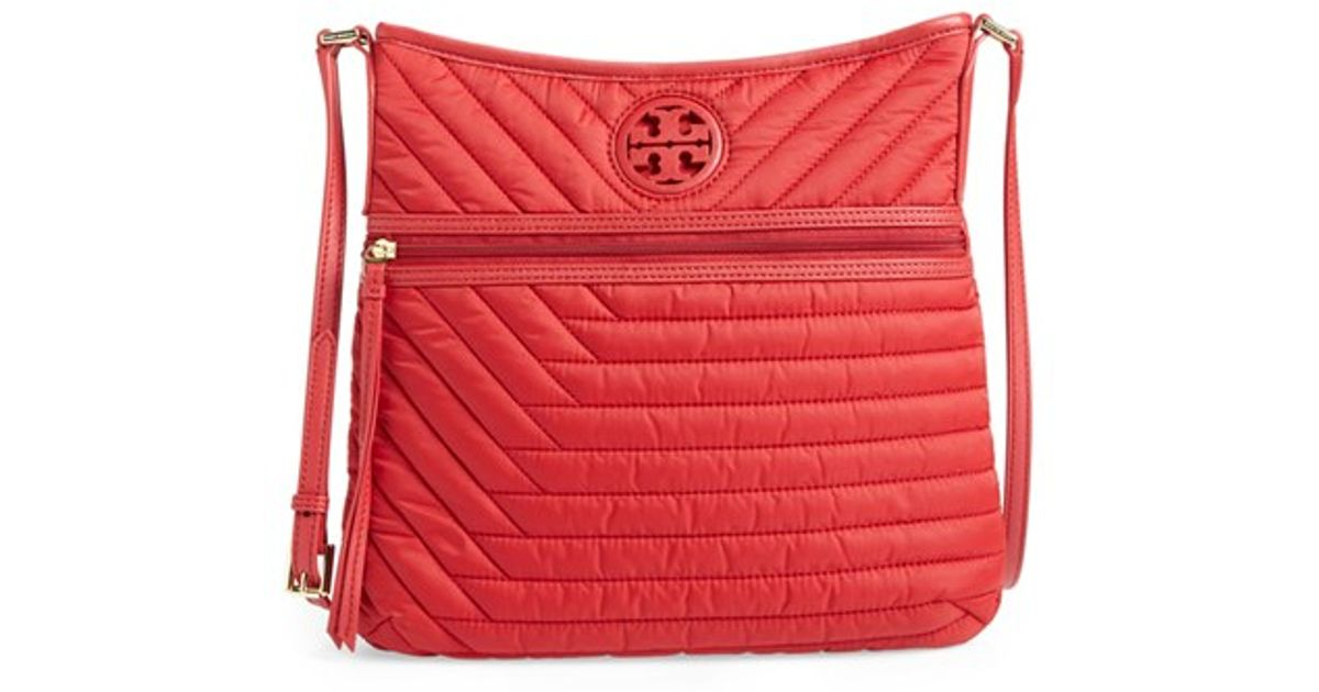 69027160cd4 Lyst - Tory Burch Quilted Nylon Swingpack in Red
