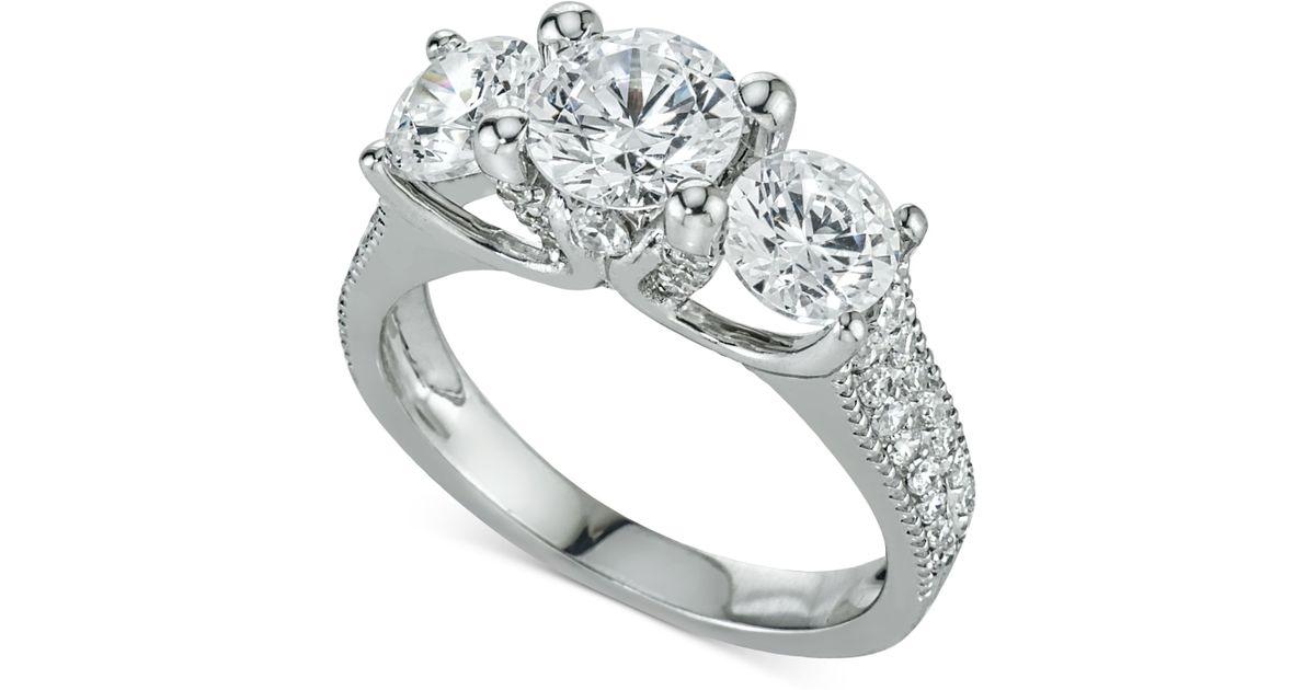 Macy s Diamond Three stone Ring 3 Ct T w In 14k White Gold in White