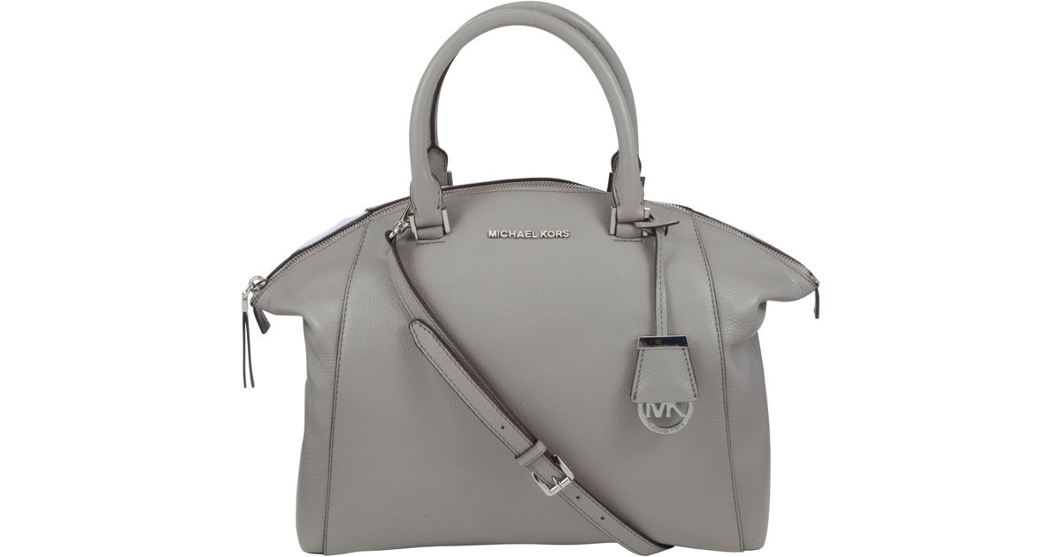 6333a927a53a ... sale michael michael kors riley large satchel in gray lyst b338a d8c88