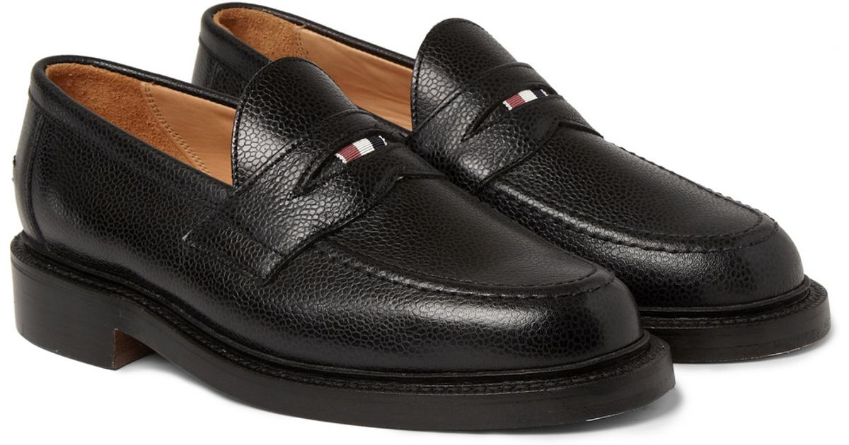 6933dcf96f8 Thom Browne Pebbled Leather Penny Loafers in Black for Men - Lyst