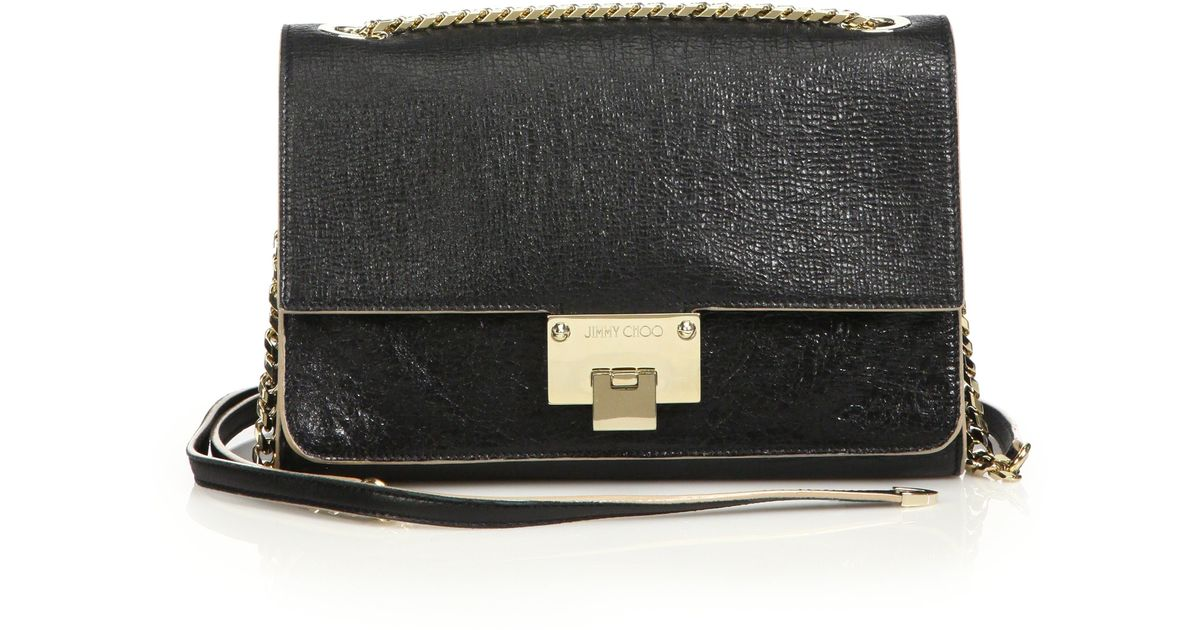 b0bad9cbad Jimmy Choo Rebel Washed Leather Crossbody Bag in Black - Lyst