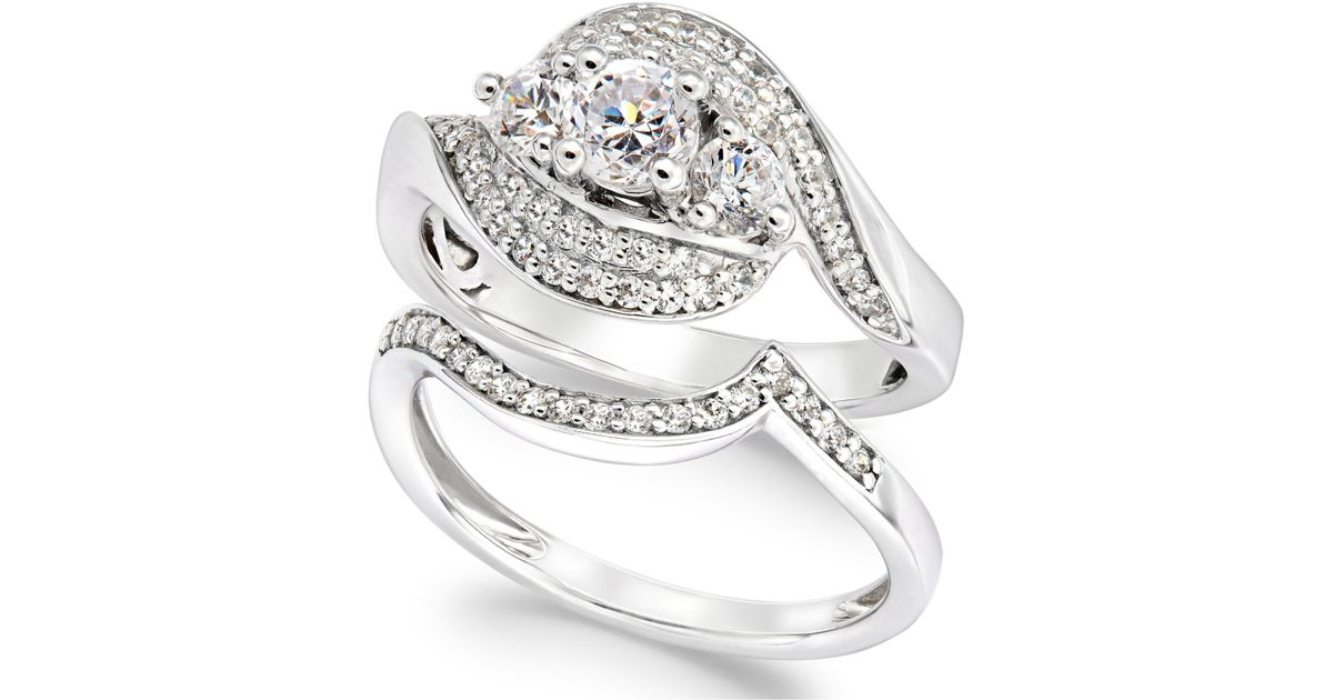 Macy s Diamond Bridal Set In 14k White Gold 1 Ct T w in Gray