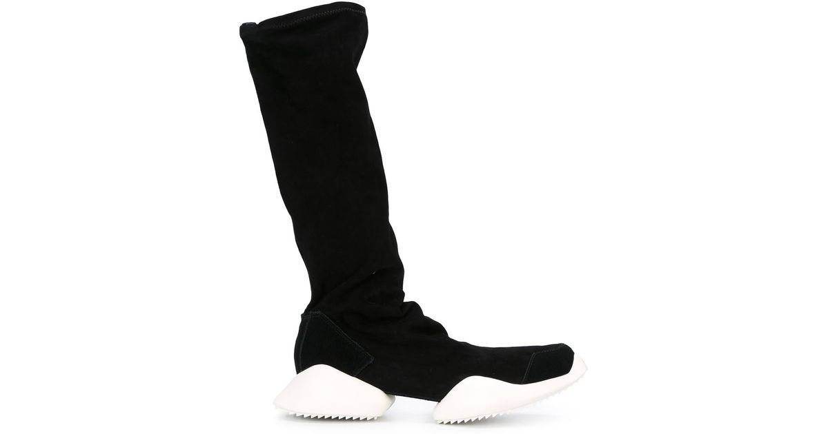 the latest df130 7c851 Lyst - Rick Owens Tech Runner Leather Knee-High Boots in Black