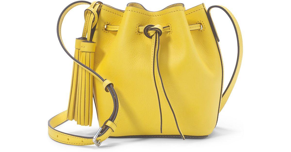 853e1e7b40 ... greece lyst polo ralph lauren mini leather bucket bag in yellow 4d388  1e2f4