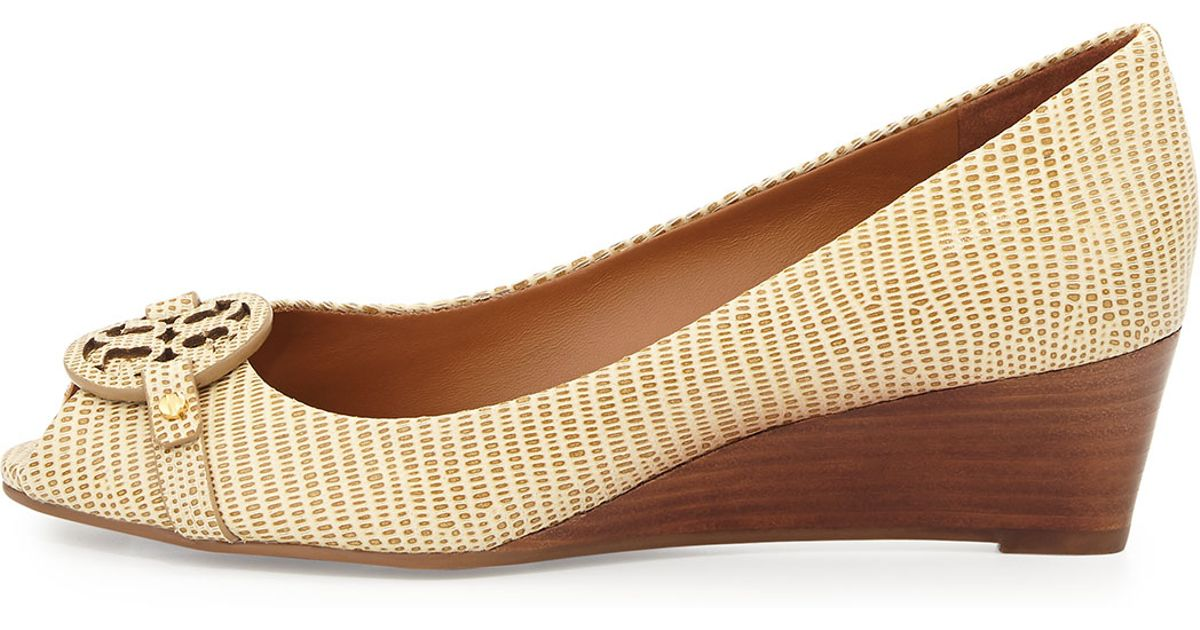 4f8389d5df1 Lyst - Tory Burch Mini Miller Open-toe Wedge in Natural