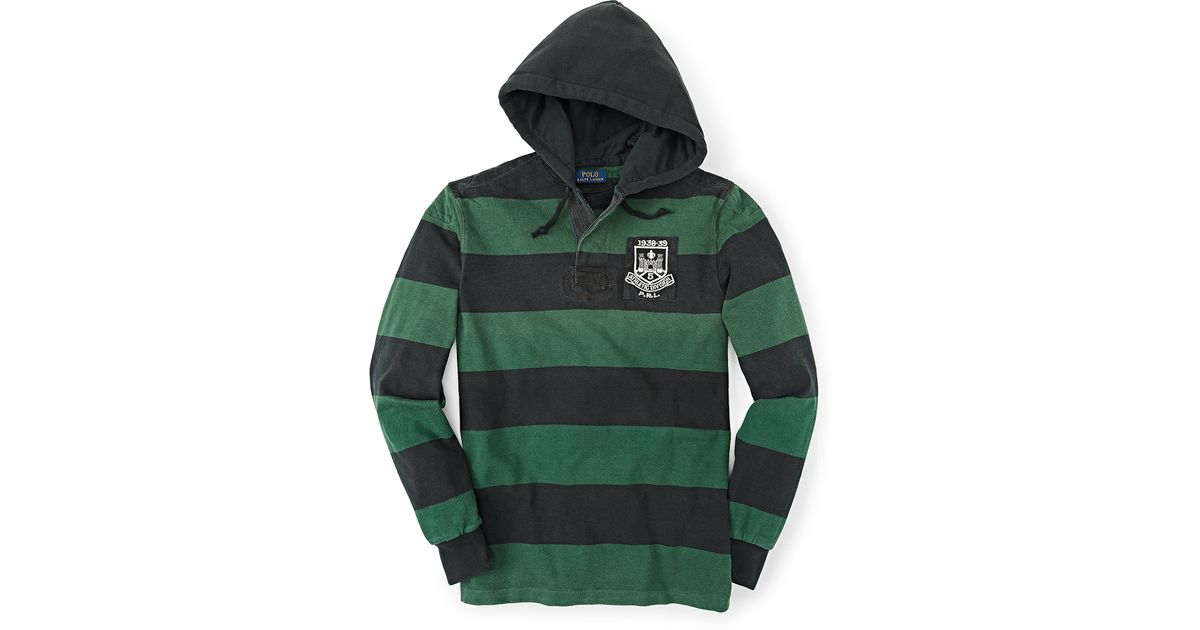 c18d18f7b8 official store lyst polo ralph lauren striped hooded rugby shirt in green  for men 6f41f 0697a
