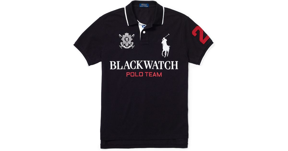 ed6517bbbbc Lyst - Polo Ralph Lauren Blackwatch Custom-fit Polo in Black for Men