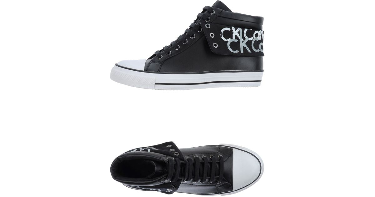 ck calvin klein high tops sneakers in black for men lyst. Black Bedroom Furniture Sets. Home Design Ideas