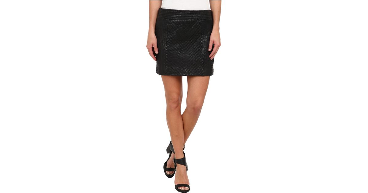 Nicole miller Quilted Leather Skirt in Black | Lyst : quilted leather skirt - Adamdwight.com