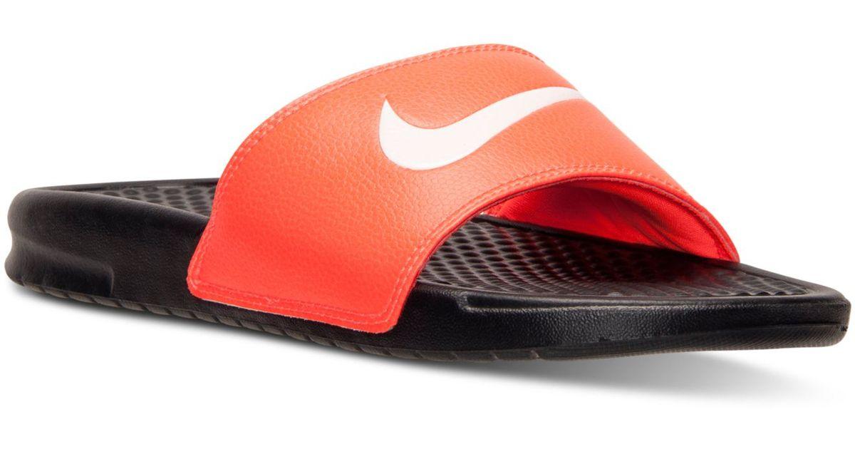 214f54857 Lyst - Nike Men s Benassi Swoosh Slide Sandals From Finish Line in Red for  Men