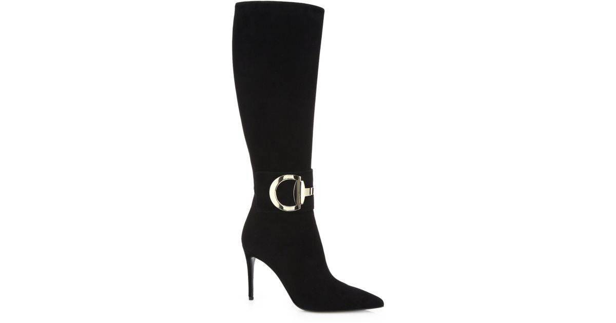 baec70f01e2e Lyst - Gucci Rooney Suede Knee-high Boots in Black