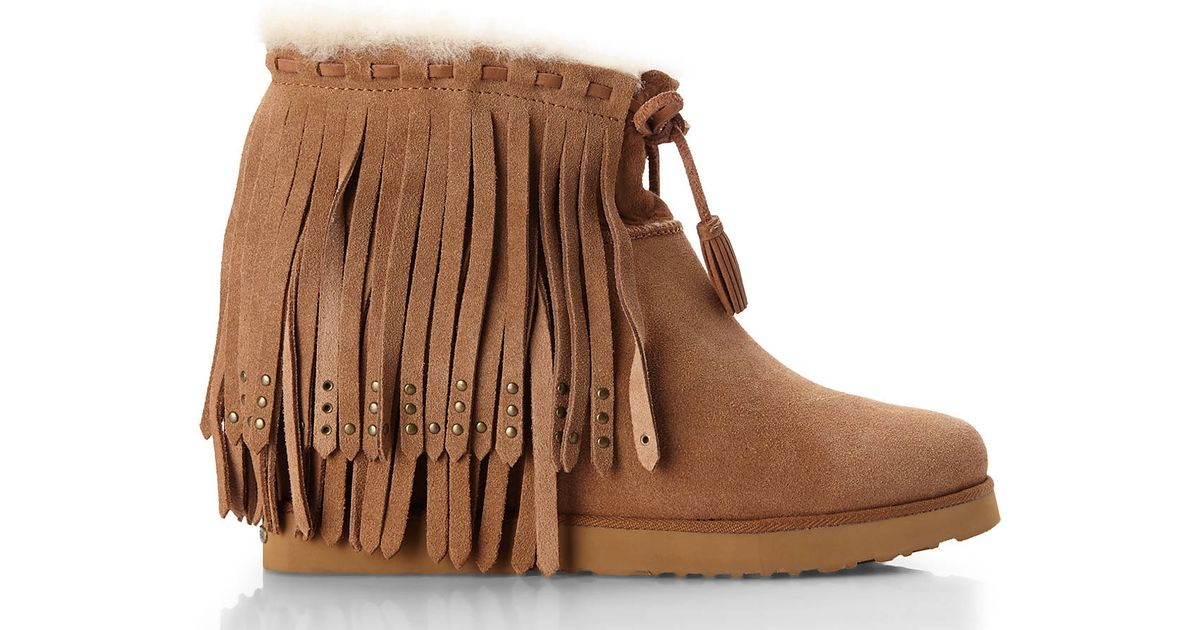 a997d59a2201 Lyst - Koolaburra Vianna Real Fur Trim Wedge Boots in Brown