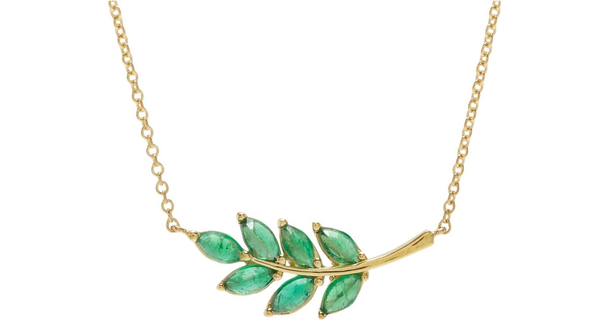 Lyst finn emerald leaf charm necklace size os in green aloadofball Choice Image