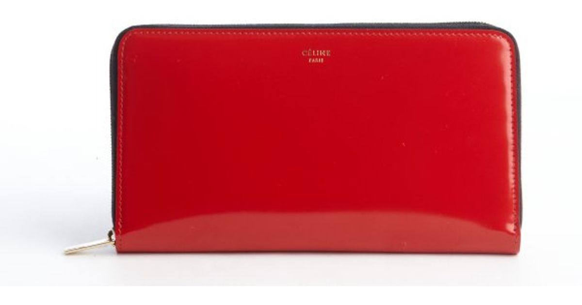 celine tote replica - celine patent red wallet