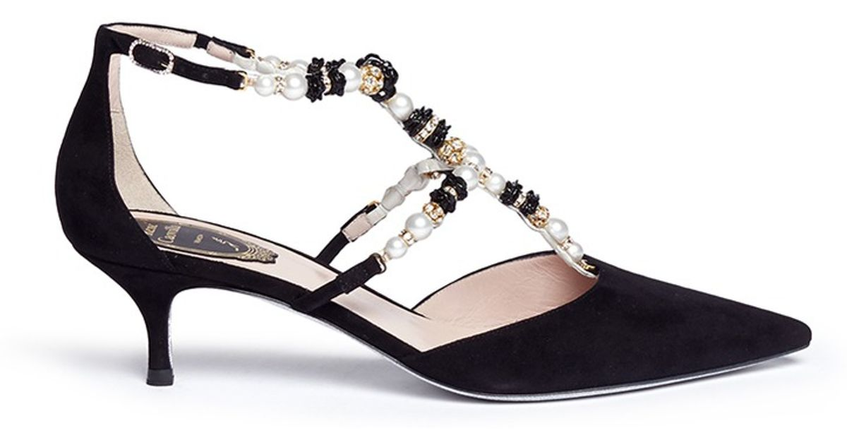 7b1f14311a6 Lyst - Rene Caovilla Pearl And Rose Bead Strap Suede Pumps in Black