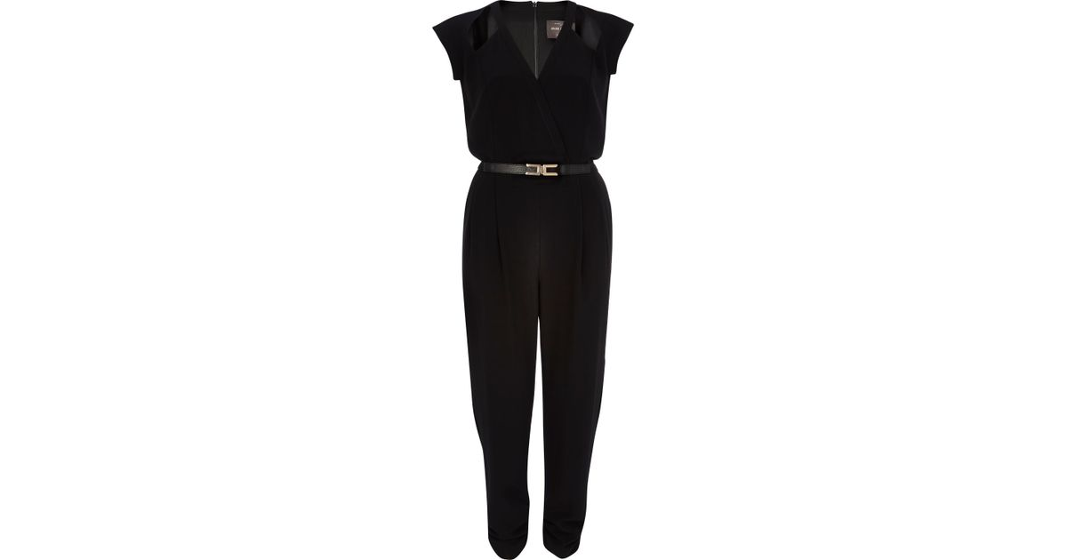 7a6f527a625 River Island Black Wrap Front Cut Out Belted Jumpsuit in Black - Lyst