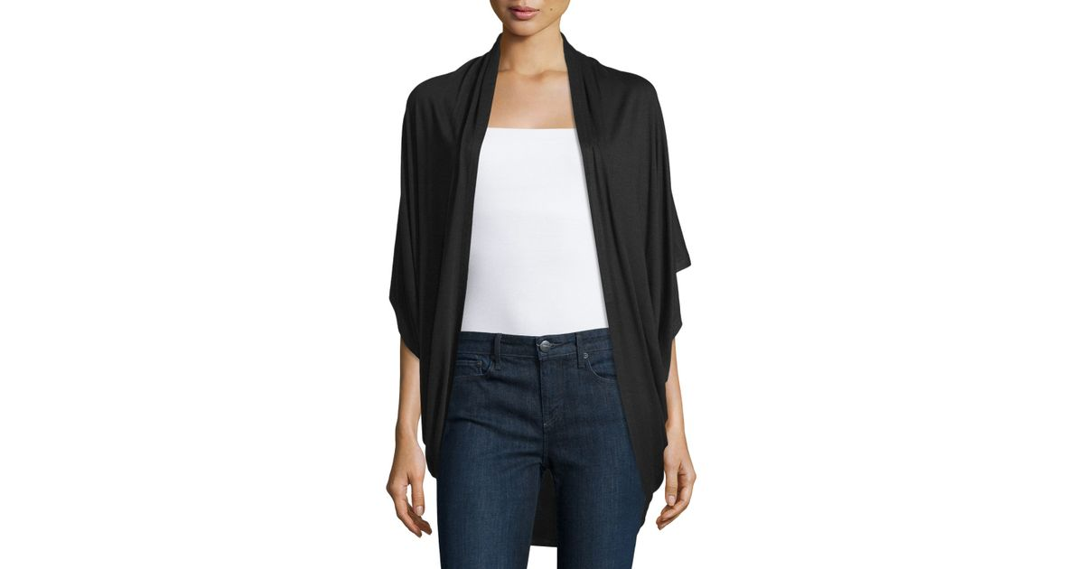 Neiman marcus Short-sleeve Cocoon Cardigan in Black | Lyst