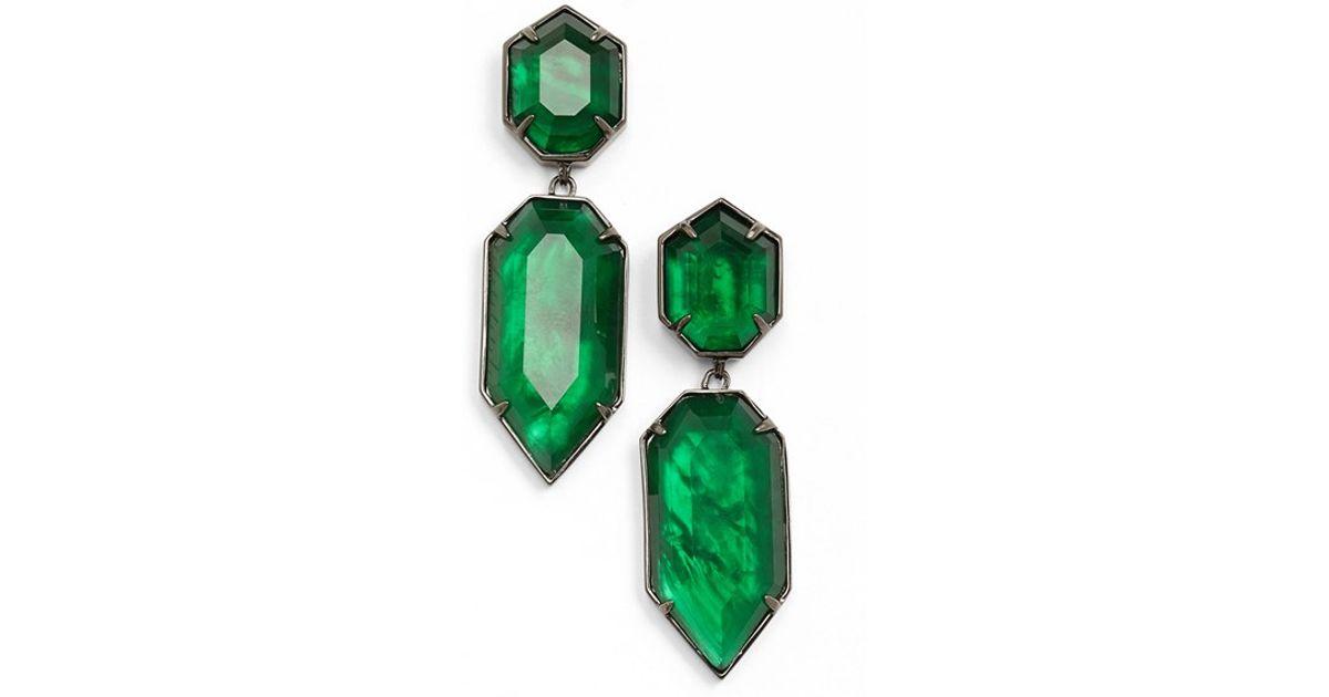 Lyst Kendra Scott Perla Drop Earrings Gunmetal Emerald Gl In Green