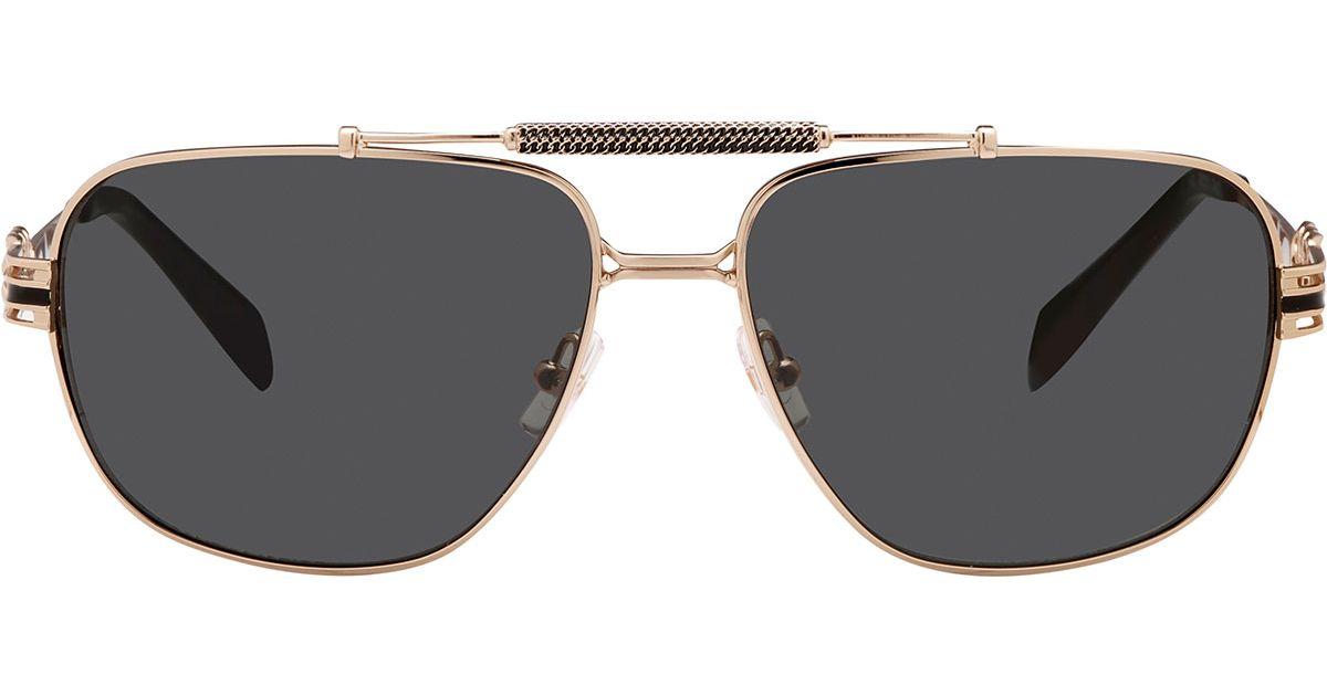 fa021008fd5a7 Balmain Metal Chain-rim Rectangle Aviator Sunglasses in Metallic - Lyst