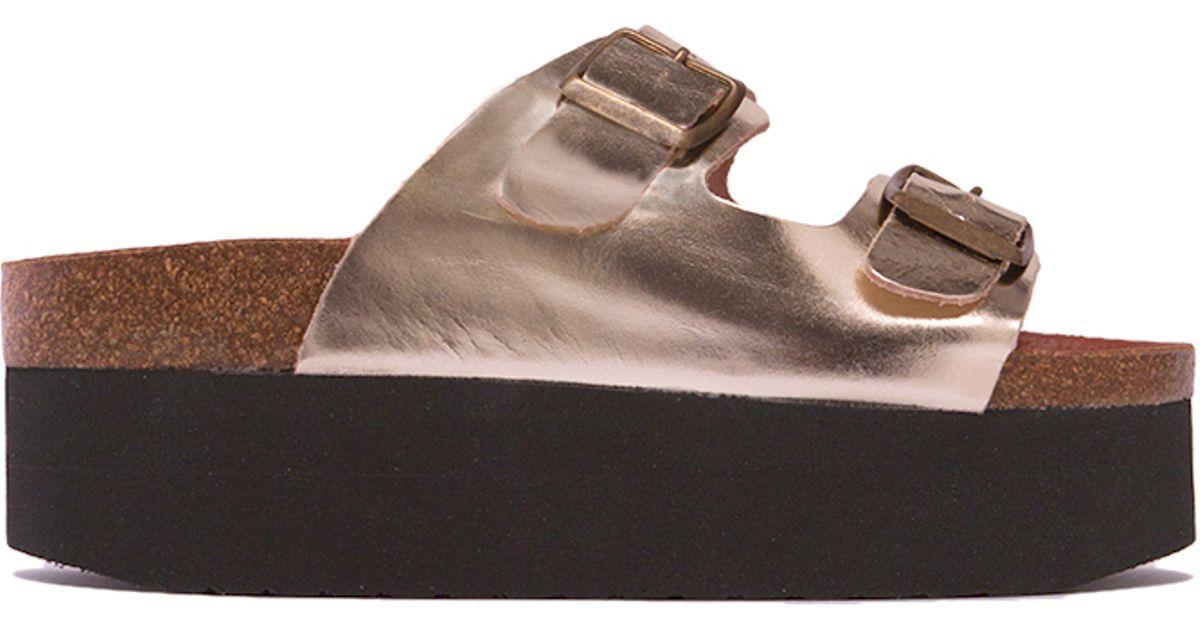 631e3fb77137 Lyst - Sixtyseven Indigo Leather Platform in Gold in Metallic