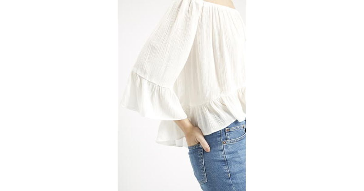 e8a8535b336bc TOPSHOP Tall Crinkle Off Shoulder Bardot Top in White - Lyst