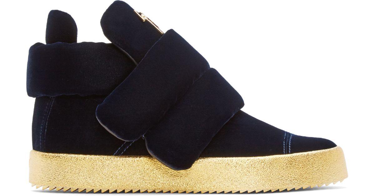 85bb945e3c7 Lyst - Giuseppe Zanotti Blue Padded Velvet High-top Sneakers in Blue for Men