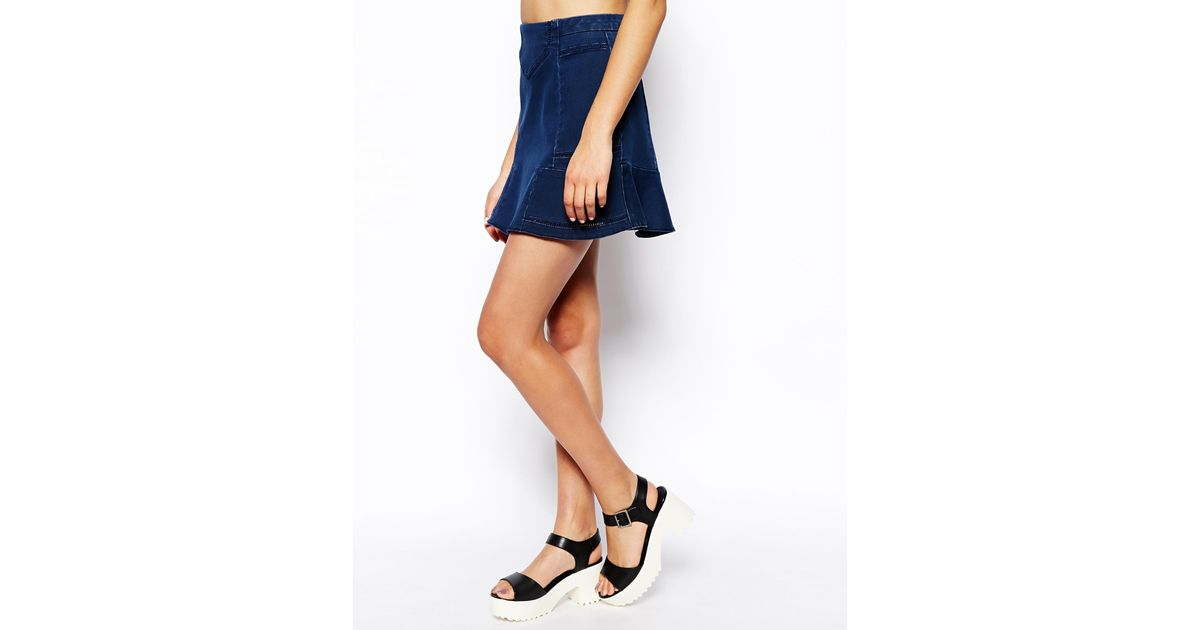 amazing price really cheap how to purchase ASOS - Blue Denim Ladder Fit & Flare Skirt - Lyst