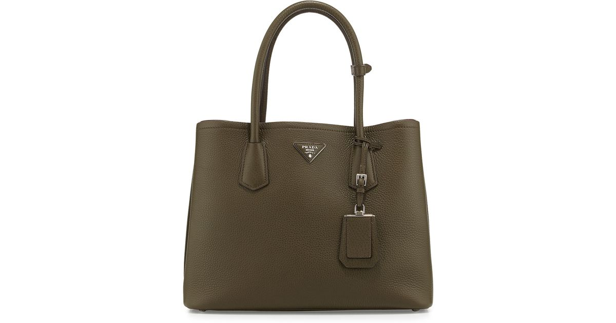 53576cde4c16 Prada Daino Pebbled Leather Medium Double Bag in Green - Lyst