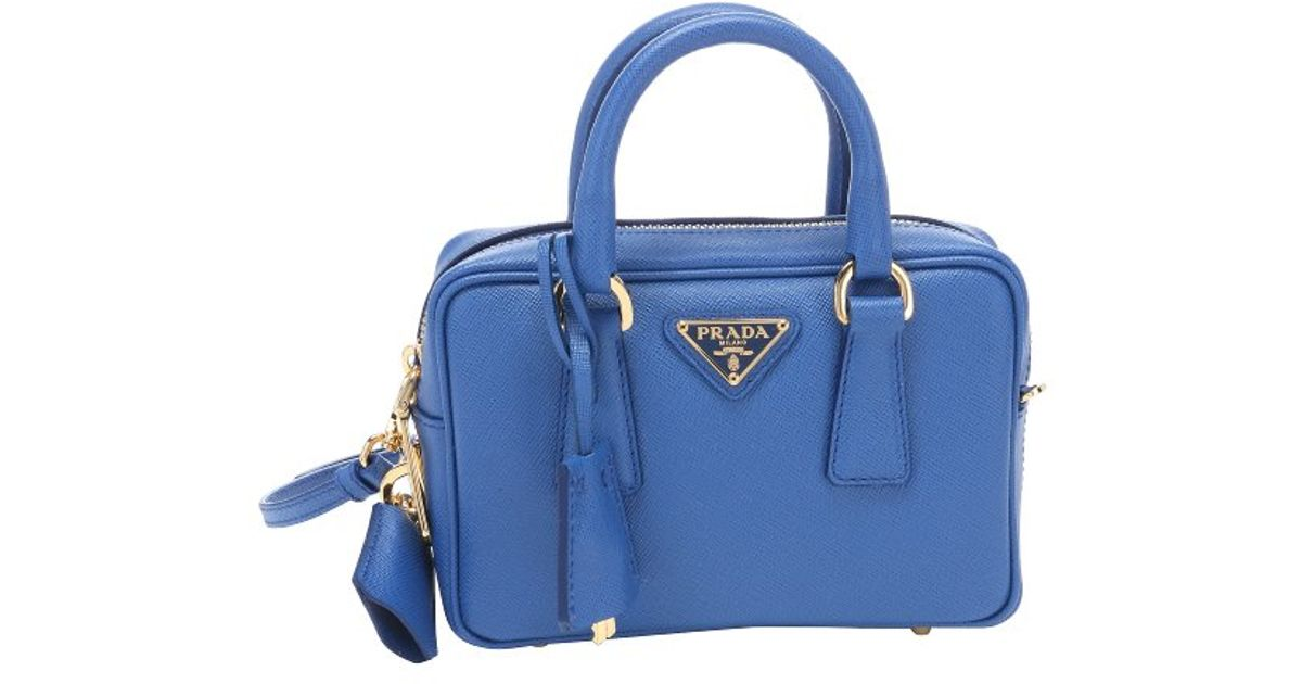 Prada Blue Saffiano Leather Mini Convertible Top Handle Bag in ...