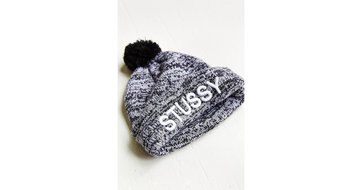 08f5a920647 Lyst - Stussy Marble Knit Pom Beanie in White
