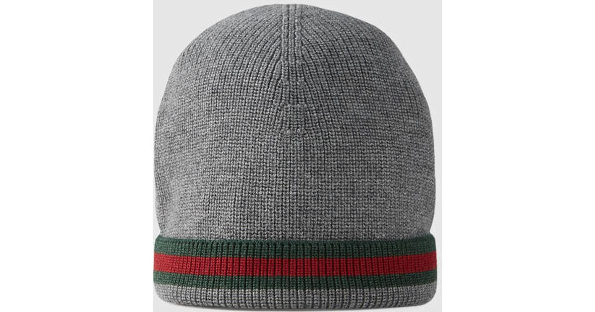 Lyst - Gucci Knit Wool Web Hat in Gray for Men b1e3fa3f8b2