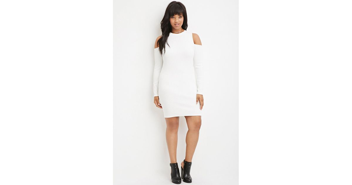 Lyst Forever 21 Plus Size Open Shoulder Ribbed Sweater Dress In