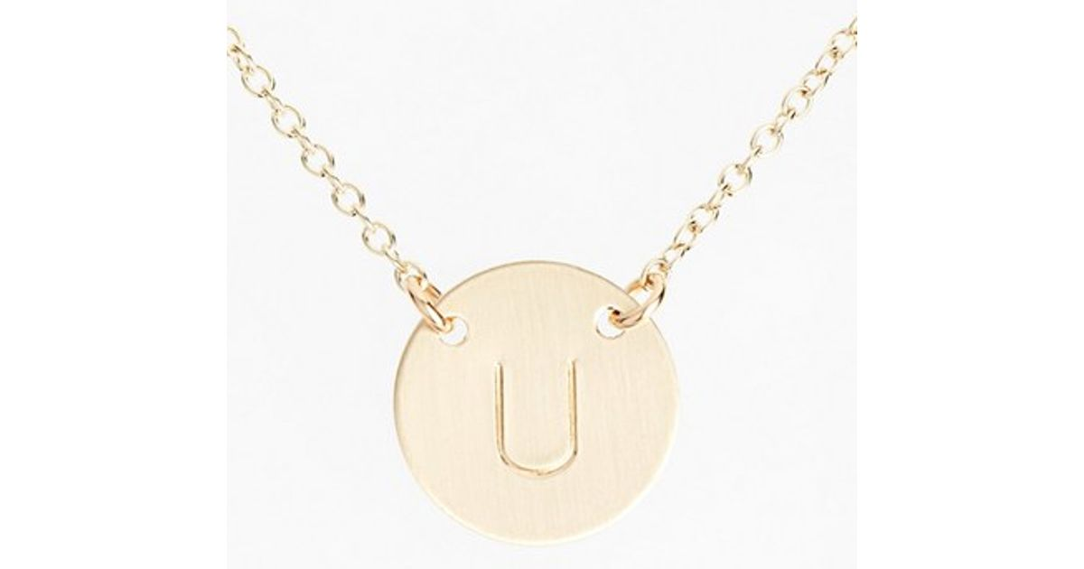 nashelle 14k gold fill anchored initial disc necklace in