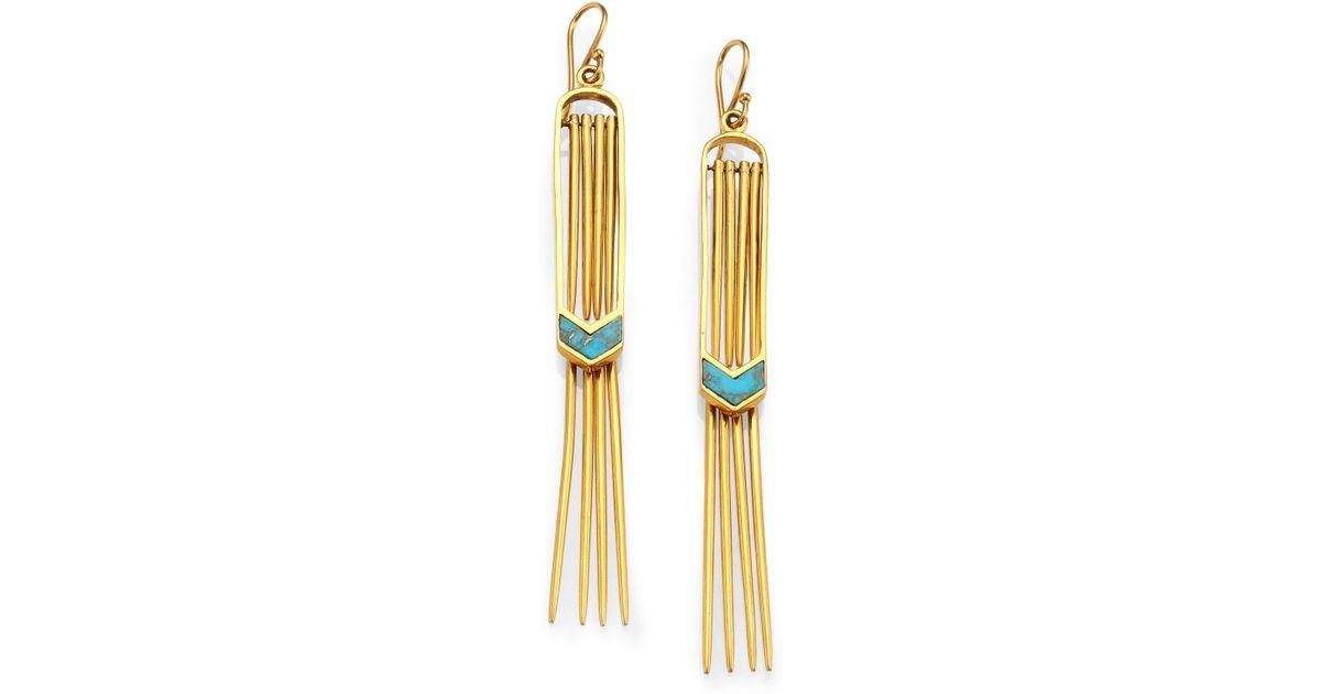 Lyst A peace treaty Vala Turquoise Double Fringe Earrings in