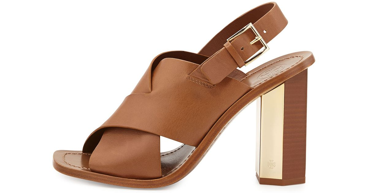 93f8b0807af Tory Burch Bleecker Slingback Leather Sandal in Brown - Lyst