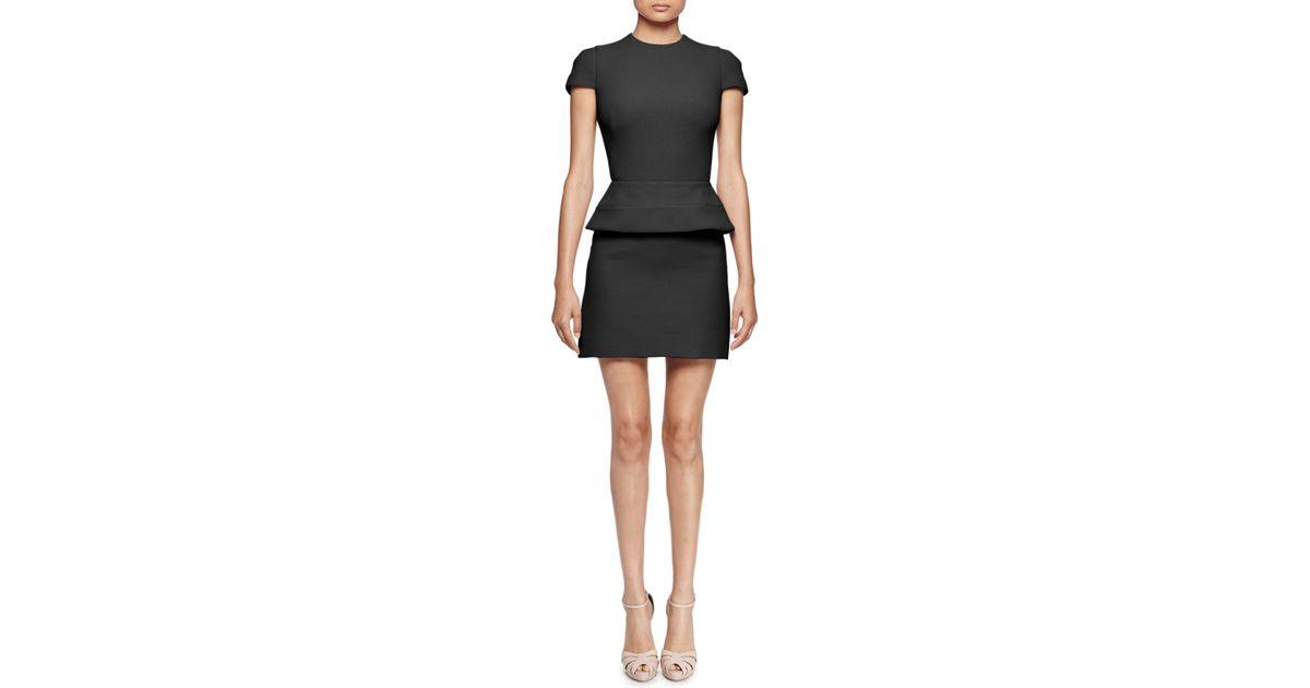 Lyst Alexander Mcqueen Cap Sleeve Peplum Waist Dress In Black