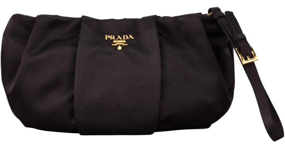 green prada handbags - Prada Satin Wristlet Bag in Black (nero) | Lyst