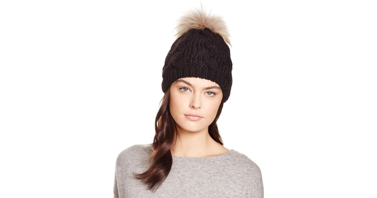 205e7ed4c99 Lyst - Echo Cable Knit Beanie With Asiatic Raccoon Fur Pom-pom -  Bloomingdale s Exclusive in Black