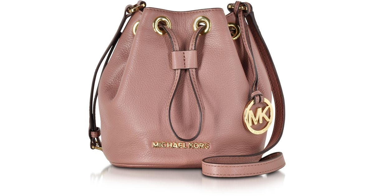 479e5592b7 ... low price lyst michael kors jules soft leather drawstring crossbody bag  in pink 01a78 4abb2