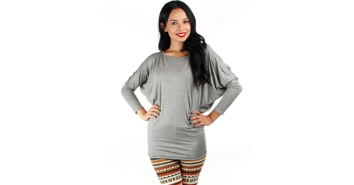 Fashion club usa Dolman Sleeve Top in Gray