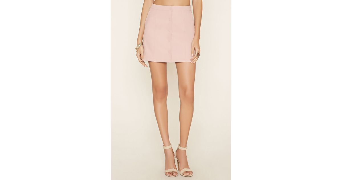 forever 21 faux leather mini skirt in pink blush lyst