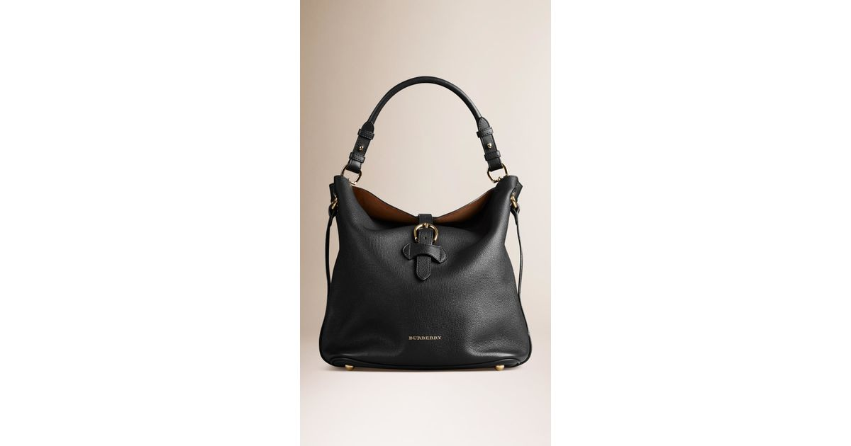 e2b5eb1d843c Burberry Medium Buckle Detail Leather Hobo Bag in Black