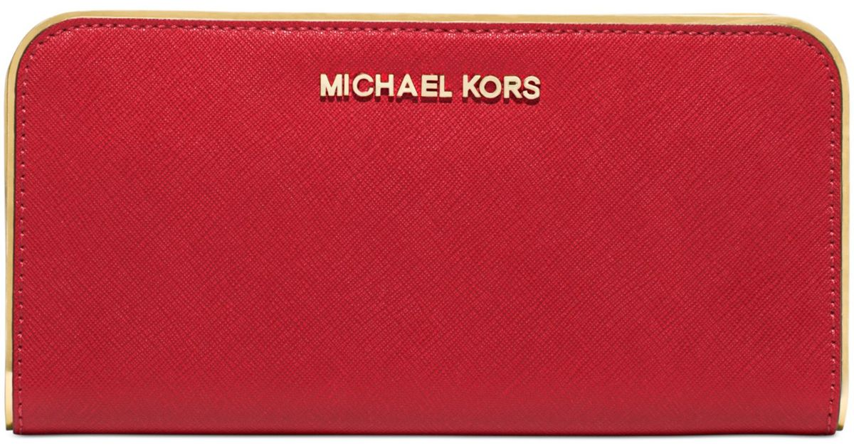 1c983864c7882 Lyst - Michael Kors Michael Specchio Jet Set Travel Zip Around Continental  Wallet in Red